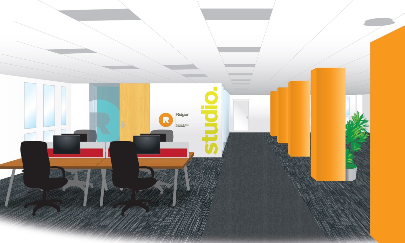 Ridgian business evolution it excellence for Office branding ideas